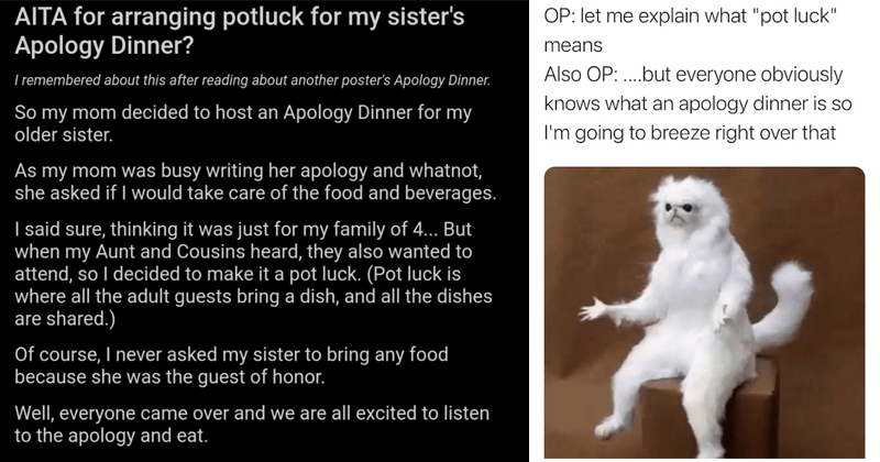 Funny tweets about the existence of Apology Dinner, REDDIT, AITA, am i the asshole