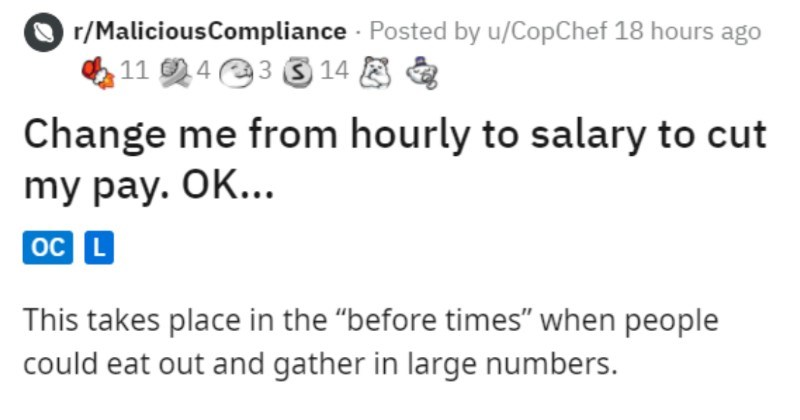 A dumb boss cuts a chef's overtime, and then has to pay anyways.