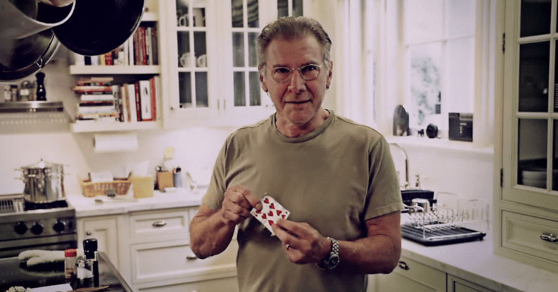 Funny video and reactions to Harrison ford magic trick, card trick with David Blaine, get the fuck out of my house