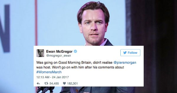 Piers Morgan,twitter,ewan mcgregor,argument