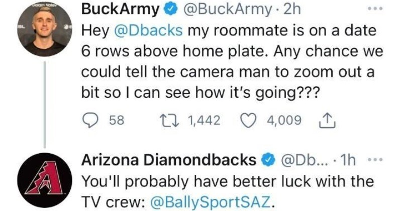 A funny Twitter thread where a guy ends up crashing his friend's date with help of MLB team.