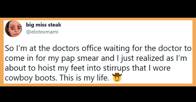 "Funny tweets about pap smears | thumbnail text - some bunny @cinnubunny Asking my doctor ""what are we"" after my pap smear 11:29 PM · Apr 15, 2021 · Twitter for iPhone"