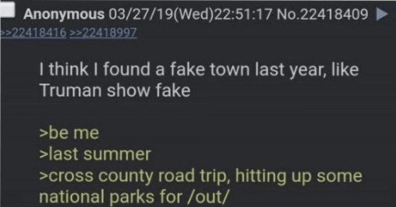 thread of guy wandering around creepy fake town that's probably a government training site
