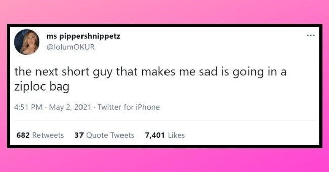 funny women roasting men tweets | thumbnail text - ms pippershnippetz ... @lolumOKUR the next short guy that makes me sad is going in a ziploc bag 4:51 PM · May 2, 2021 · Twitter for iPhone 682 Retweets 37 Quote Tweets 7,401 Likes