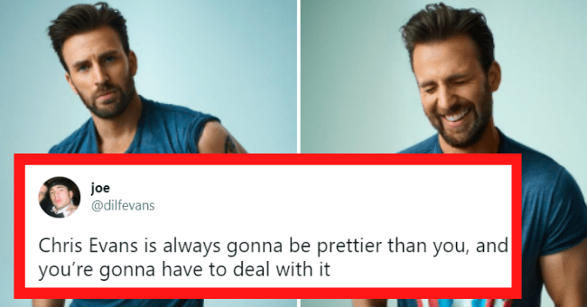 Thirst tweets about Chris Evans | thumbnail text - joe @dilfevans Chris Evans is always gonna be prettier than you, and you're gonna have to deal with it CA AMERICAS CA AMERICA g CA IN AMERICA IN AMERICA CA OLET OLET AIN AIN 5:19 AM - May 4, 2021 · Twitter for iPhone