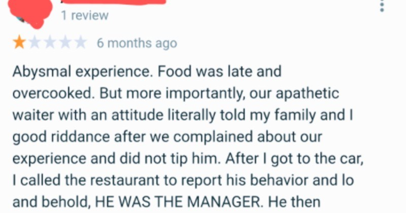 angry customer gets scolded by owner of restaurant after leaving bad review