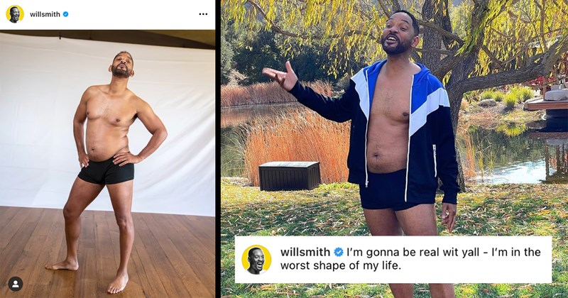 relatable, funny, will smith, celebrities, celeb, instagram, dad bod, pandemic bod, pandemic, memes, hollywood, social media, body positivity