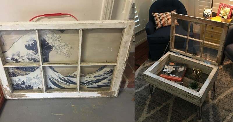 diy window into a coffee table