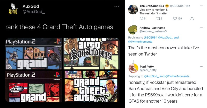 gta v, grand theft auto, gaming, video games, san andreas, vice city, twitter, trending tweets, hot takes, funny