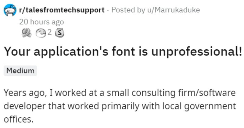 manager has comic sans as default font, tries to blame employee for it