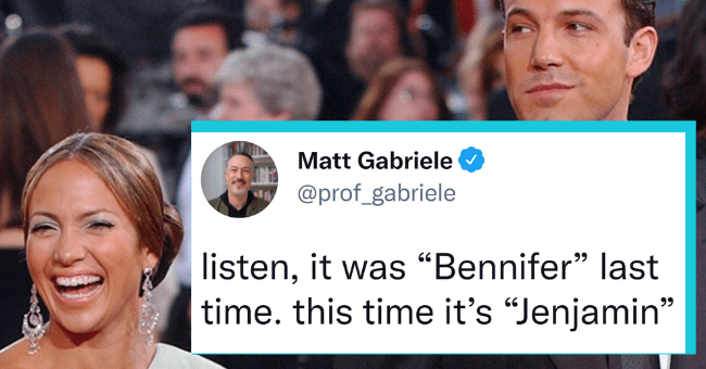 "Twitter's Dramatic Response To The Return Of 'Bennifer'| thumbnail text - Matt Gabriele @prof_gabriele listen, it was ""Bennifer"" last time. this time it's ""Jenjamin"" 10:06 PM · May 10, 2021 · Twitter for Mac 371 Retweets 26 Quote Tweets 4,814 Likes"