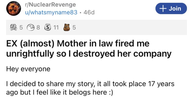 Man's almost mother in law unrightfully fires him, so he takes a nuclear revenge.