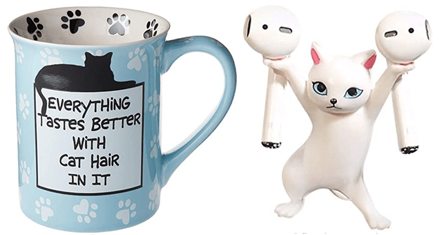 collection of Amazon gifts for cat lovers | thumbnail includes a picture of a mug and a cat headphone holder
