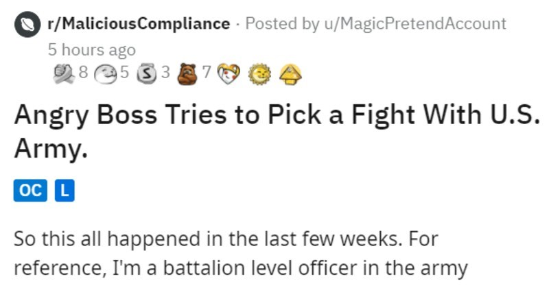 angry boss tries to pick fight with U.S. army and doesn't succeed