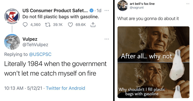 Tweets roast people who would put gasoline in bags, gas shortage