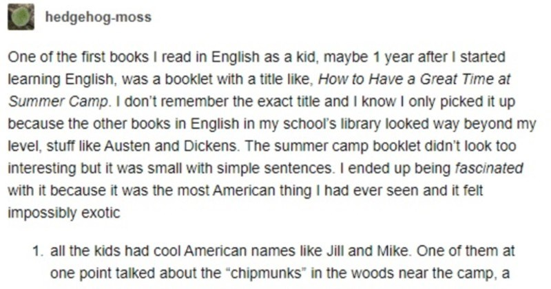 A funny Tumblr thread about a summer camp book that ends up inspiring funny translation fails.