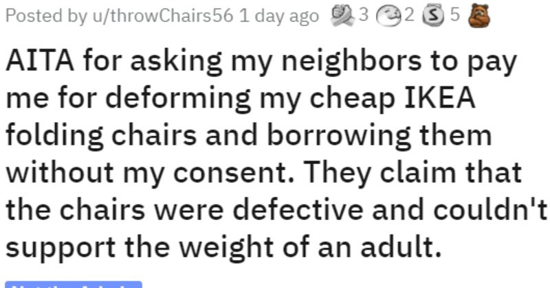 neighbors borrow and break chairs, internet weighs in on repayment