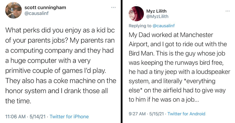 Wholesome twitter thread about the perks of parents jobs while growing up, childhood