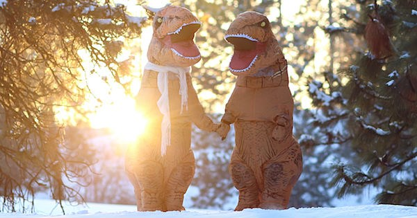 costume photography engaged trending engagement dinosaurs dating couple t rex - 1431813