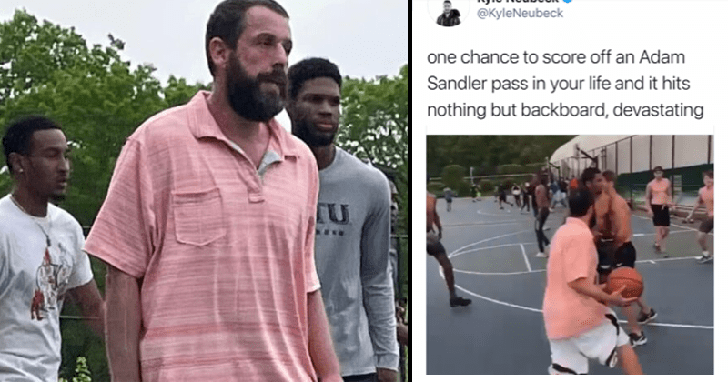funny video of adam sandler playing pickup game of basketball goes viral, long island, fashion, baggy clothing