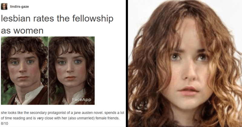 Lesbian rates the Fellowship of the ring as women, funny, faceapp, lord of the rings, peter jackson