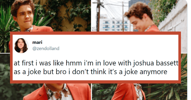 Thirsty tweets about Joshua Bassett | thumbnail text - mari ... @zendolland at first i was like hmm i'm in love with joshua bassett as a joke but bro i don't think it's a joke anymore 10:30 PM · May 14, 2021 · Twitter for iPhone