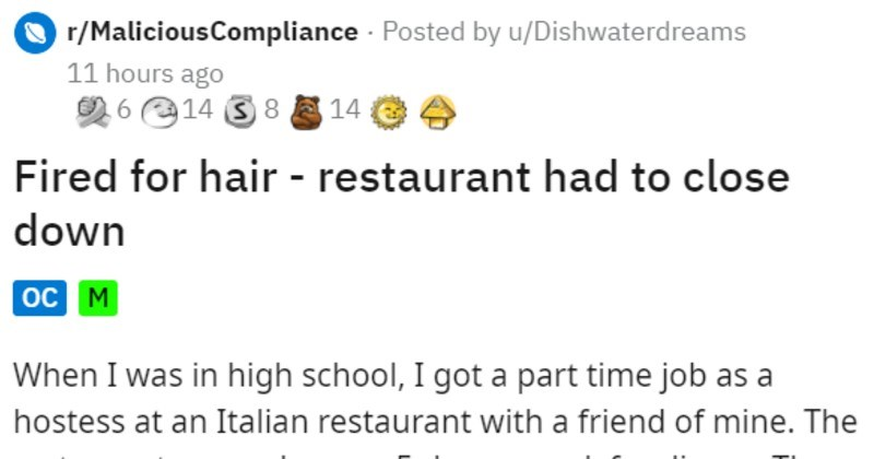 restaurant manager fires employees for hair so the whole staff walks out