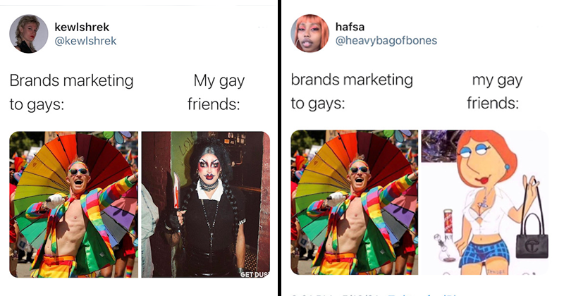 Funny twitter meme about brands marketing to gays, my gay friends, gay people, goths, vampires, funny, stereotypes, lgbtq, pride