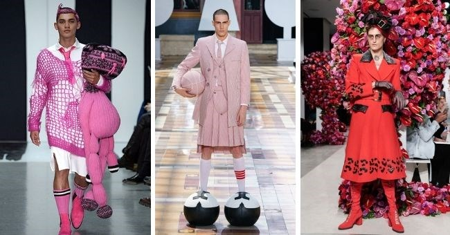 pictures of men wearing skirts and dresses as fashion | thumbnail three images of men in skirts and dresses