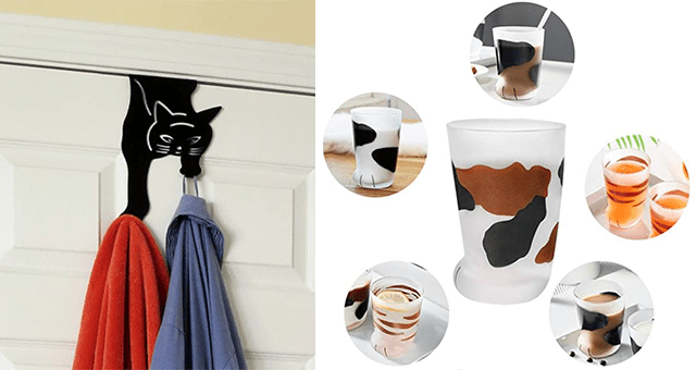 collection of unnecessary but funny knick knacks to buy on Amazon | thumbnail includes a picture of cat foot shot glasses and cat shaped over the door hanger hooks
