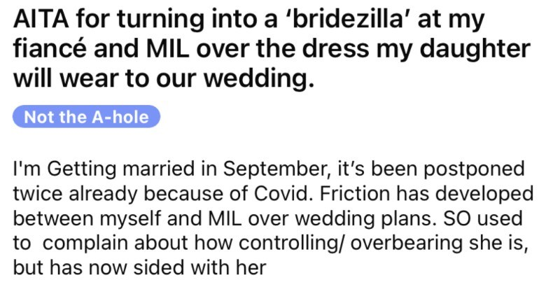 Bride refuses to use the flower girl dress that her mother-in-law bought.