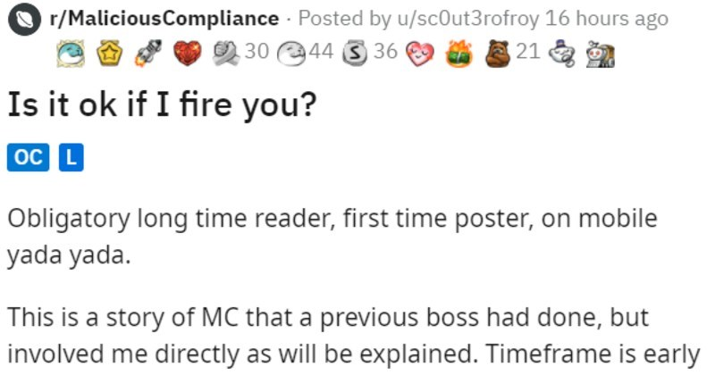 employee arrives to work late, good boss uses the opportunity to fire and rehire them at higher wage