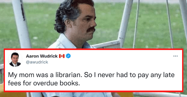 People Tweet The Coolest Perks They Got Due To Their Parent's Occupation| thumbnail text -Aaron Wudrick D O @awudrick Replying to @causalinf My mom was a librarian. So I never had to pay any late fees for overdue books. 8:55 PM · 5/15/21 · Twitter for Android 5 Retweets 3 Quote Tweets 192 Likes