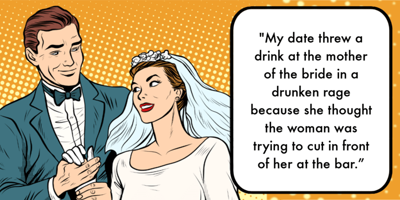 8 people confess their most embarrassing wedding dates | thumbnail text - Who invited that asshole?