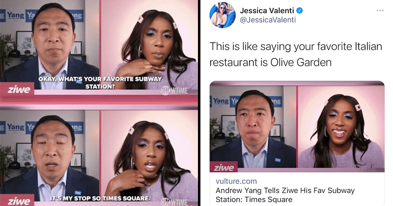 Twitter users and new yorkers react to andrew yang saying his favorite subway station is times square