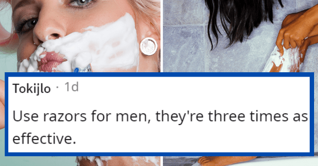 Shaving tips for silky smooth legs   thumbnail text - Font - Tokijlo · 1d Use razors for men, they're three times as effective.