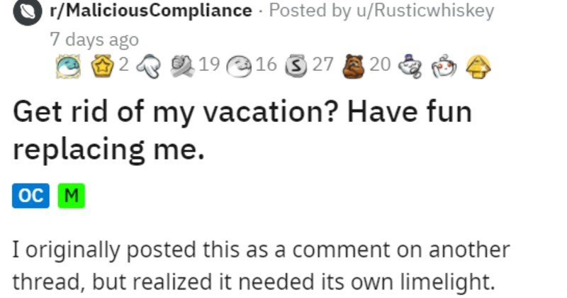 company changes vacation policy, one crucial employee leaves and debilitates company