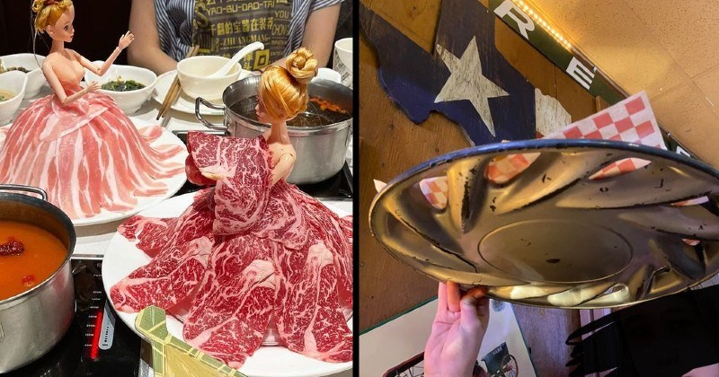 food served in strange objects and ridiculous ways