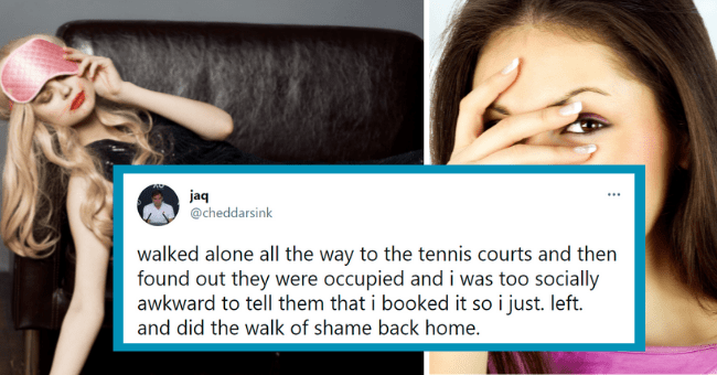 funny tweets about walk of shame | thumbnail text - . jaq @cheddarsink ... walked alone all the way to the tennis courts and then found out they were occupied and i was too socially awkward to tell them that i booked it so i just. left. and did the walk of shame back home. 10:47 AM · May 26, 2021 · Twitter for iPhone