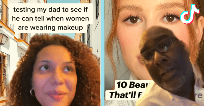 TikTok Dad Proves Men Really Have No Clue When Women Are Wearing Makeup Or Not| thumbnail text - J TikTok @thicketmicket testing my dad to see if he can tell when women are wearing makeup