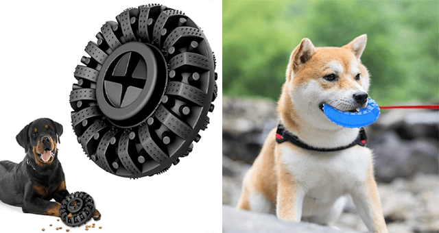 list of dog toys for aggressive and anxious dogs and puppies | thumbnail includes two pictures of dog toys from Amazon