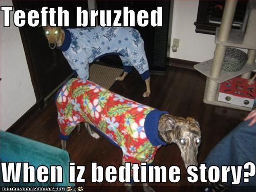 bedtime greyhound pajamas read sleep story teeth toothbrush - 1440776448