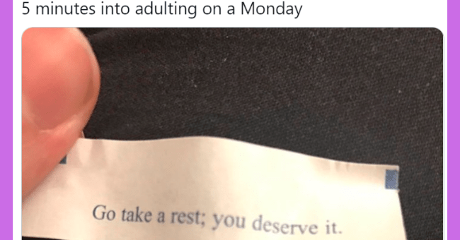 This week's adulting tweets | thumbnail text - Solange Mbunde @ianmbunde ... minutes into adulting on a Monday Go take a rest; you deserve it.