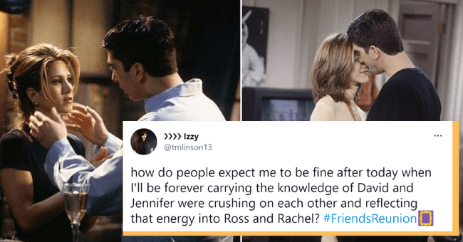 'Friends' Reunion Causes Ross-Rachel Meltdown Tweets After True Romance Is Revealed| thumbnail text - >> Izzy @tmlinson13 how do people expect me to be fine after today when I'll be forever carrying the knowledge of David and Jennifer were crushing on each other and reflecting that energy into Ross and Rachel? #FriendsReunion