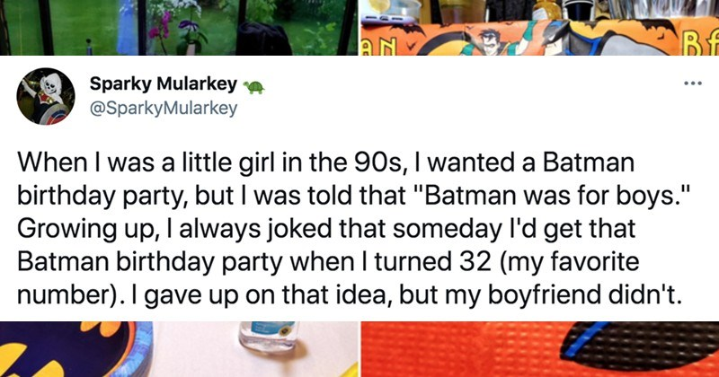 A Twitter thread about a woman's boyfriend throwing her a special Batman-themed party.