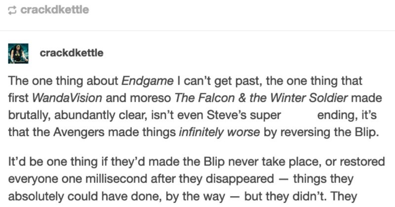 A Tumblr user ends up firing off a passionate rant about the Avengers actually being villains.