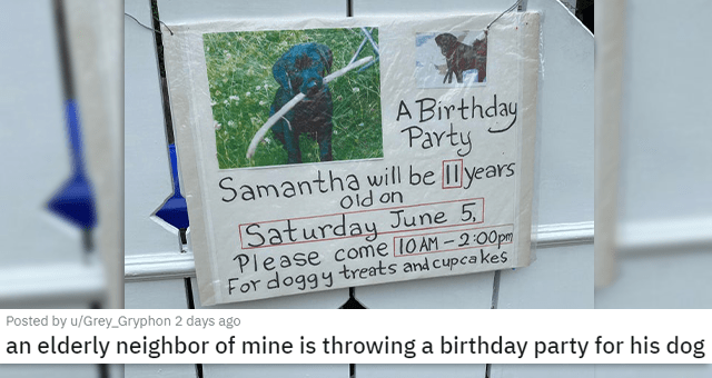 pics and vids of the cutest animals of the week | thumbnail includes a picture of a sign with a dog picture 'Handwriting - A Birthday Party Samantha will be lyears Old on Saturday June 5. Please come 10 AM -2:00pm For doggy treats and cupca kes' 'an elderly neighbor of mine is throwing a birthday party for his dog u/Grey_Gryphon'