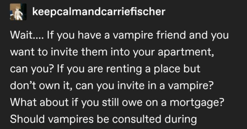 An entertaining Tumblr thread decides to ask all the important vampire questions.