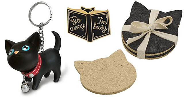 collection of subtle cat accessories | thumbnail includes a picture of a cat keychain and cat coasters and a cat pin