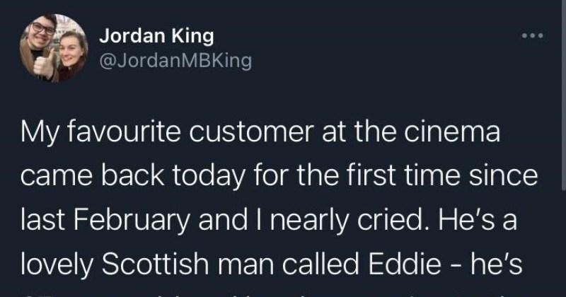 A wholesome Twitter thread about a sweet old man that makes the movie theatre job a bit more bearable.